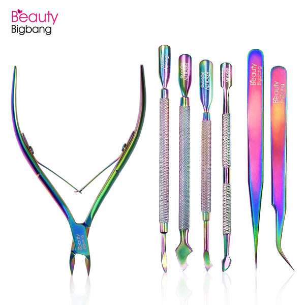 Rainbow Aurora Curved Steel Tweezers Cuticle Pusher Scissor Manicure Nail Tools