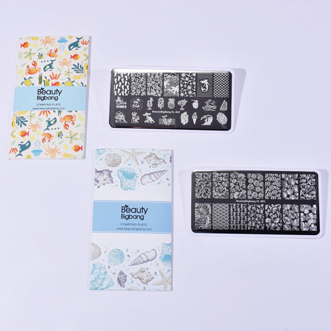 2Pcs Summer Fruit Nail Art Printing Plate Combination Set