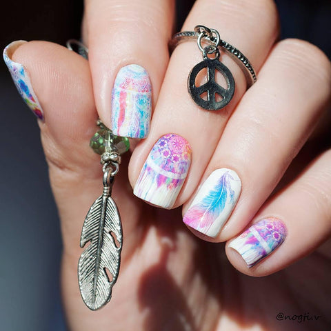Owl Feather Nail Art Stickers Dreamcatcher Water Decals Nail Decoration