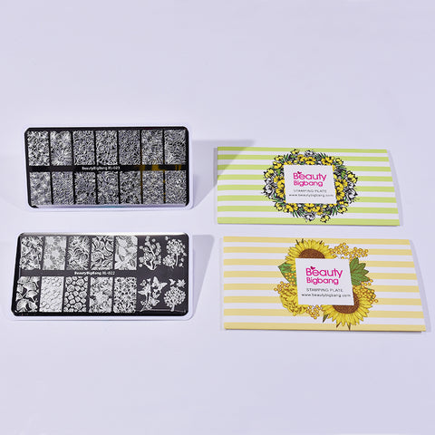 2Pcs Leaf Flower Nail Art Printing Plate Combination Set