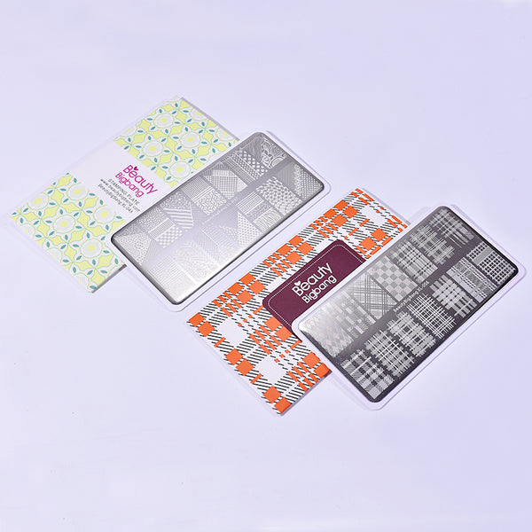 2Pcs Checkered Line Nail Art Printing Steel Plate Combination Set
