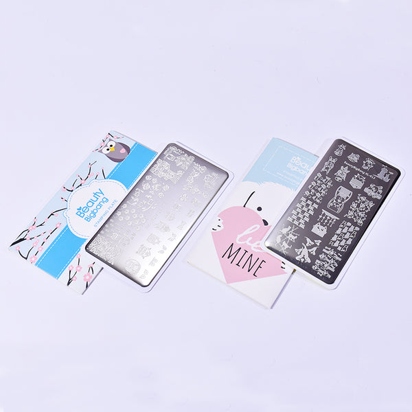 2Pcs Cute Animal Nail Art Printing Plate Combination Set