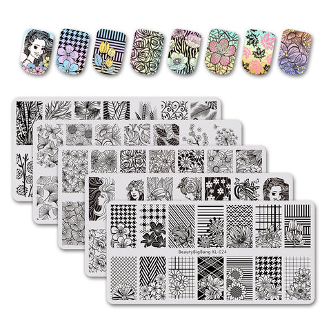 5Pcs Flower Theme Rectangle Nail Stamping Plate Beauty Maple Leaf Design Nail Art Tool