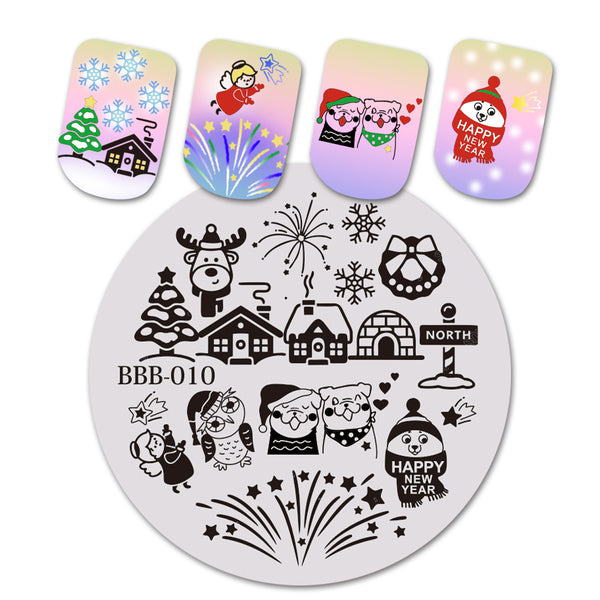 Christmas Owl Angel Theme Circle Nail Stamping Plate Wreath Design Nail Art Tool BBB-010