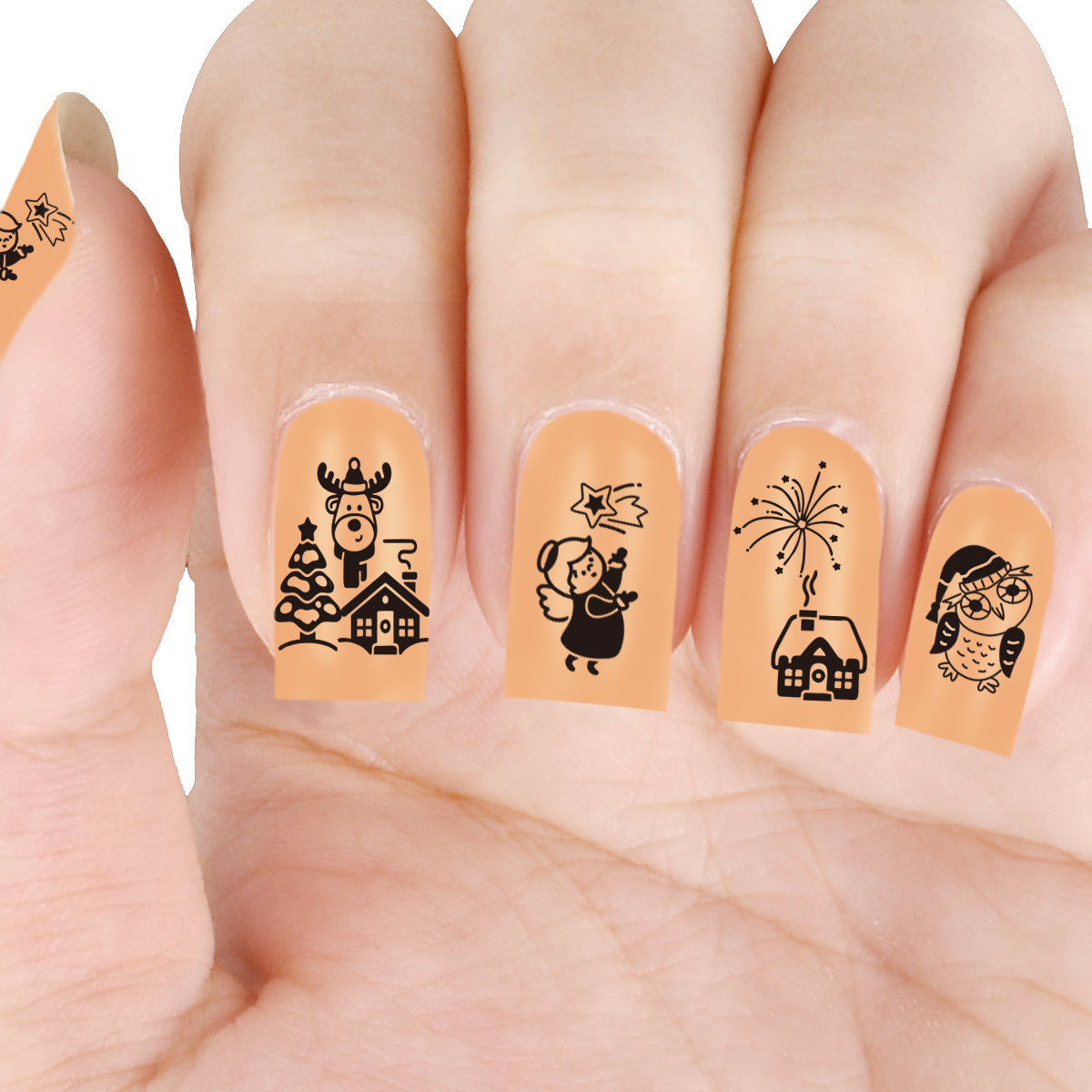 Christmas Rudolph Owl Angel Theme Circle Nail Stamping Plate Wreath ...