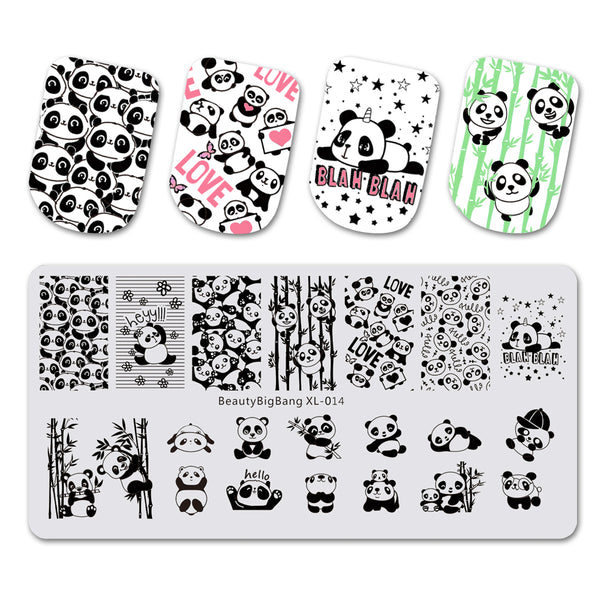 Panda Pattern Rectangle Nail Stamping Plate Animal Series For Manicure BBBXL-014