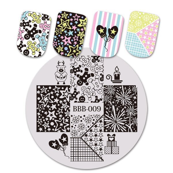 Christmas Star Gloves Theme Circle Nail Stamping Plate Candle Design Nail Art Tool BBB-009