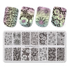 Flower Theme Rectangle Nail Stamping Plate Rose Design Nail Art Tool BBBXL-023