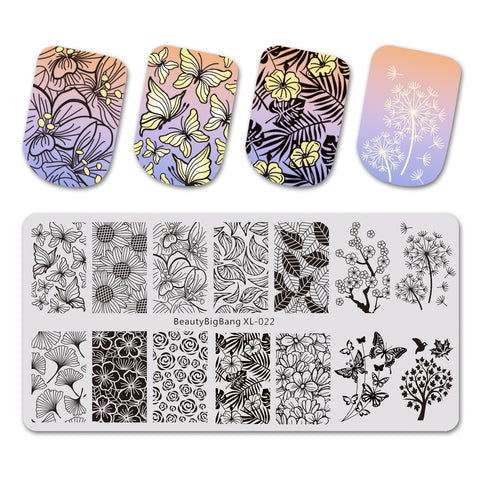 Butterfly Theme Rectangle Nail Stamping Plate Sunflower Design Nail Art Tool BBBXL-022