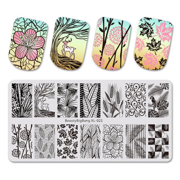 Leaf Theme Rectangle Nail Stamping Plate Deer Design Nail Art Tool BBBXL-021