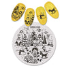Christmas Rocking Horse Footstep Theme Circle Nail Stamping Plate Planet Design Nail Art Tool BBB-008