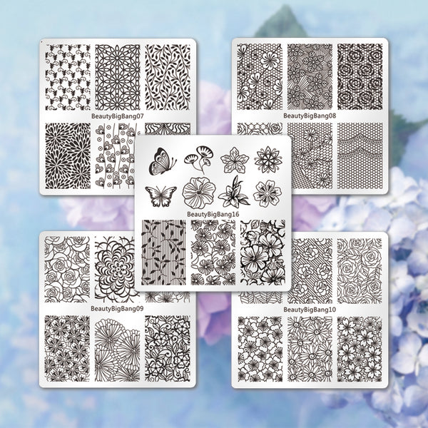 5Pcs Floral Nail Stamping Plates Kit Flower Heart Leaf Theme