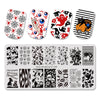 7Pcs Halloween Theme Rectangle Nail Stamping Plate Cat Spider Skull Net Design Nail Art Tool