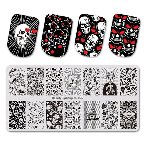 Halloween Spoof Skull Theme Rectangle Nail Stamping Plate Love Design Nail Art Tool BBBXL-026