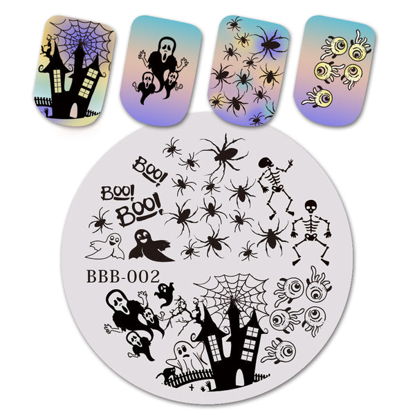 Halloween Haunted House Theme Circle Nail Stamping Plate Spider Design Nail Art Tool BBB-002