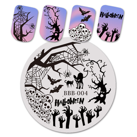 Halloween Cat Skull Theme Circle Nail Stamping Plate Net Design Nail Art Tool BBB-004