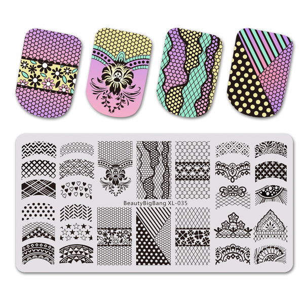 Star Flower Theme Rectangle Nail Stamping Plate Dot Design Nail Art Tool BBBXL-035