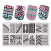 5Pcs Flower Theme Rectangle Nail Stamping Stripe Lovebirds Bownot Design Nail Art Tool BBBXL-035/036/037/038/039