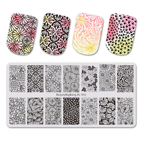 Elegance Flower Theme Rectangle Nail Stamping Plate Noble Design Nail Art Tool BBBXL-041