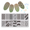 7Pcs Stripe Theme Rectangle Nail Stamping Stripe Triangle Lip Design Nail Art Tool BBBXL-040/041/042/043/044/045/046