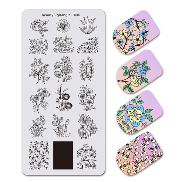 Tulip Flower Theme Rectangle Nail Stamping Plate Aloe Design Nail Art Tool BBBXL-040