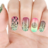 Stripe Flower Theme Rectangle Nail Stamping Plate Rose Design Nail Art Tool BBBXL-050