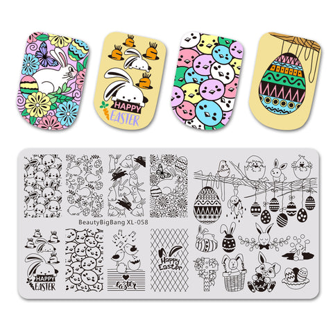 Rabbit Easter Egg Theme Rectangle Nail Stamping Plate Chick Bird Design Nail Art Tool BBBXL-058
