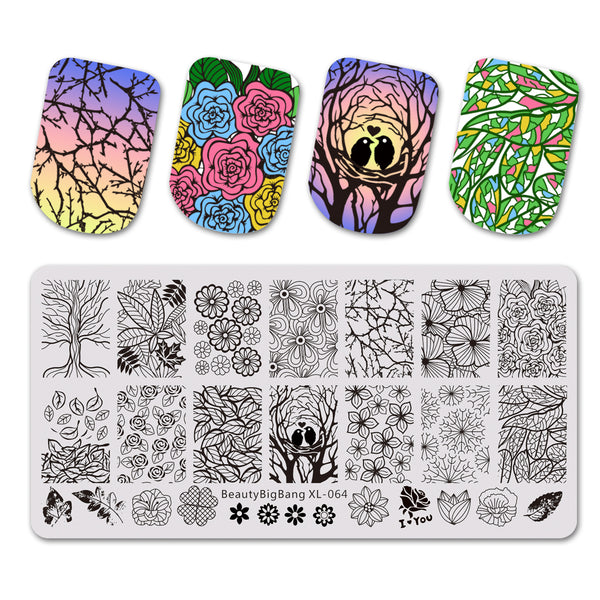 Floral Theme Rectangle Nail Stamping Plate Tree Leaf Design BBBXL-064