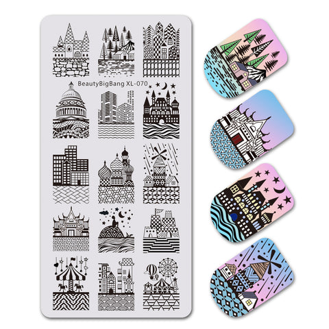 Architectural Castle Design Rectangle Nail Art Stamping Plate For Manicure BBBXL-070