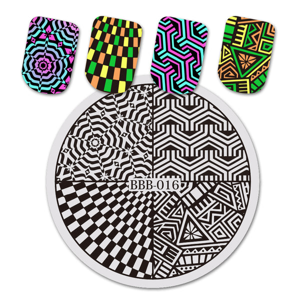 Geometric Pattern Circle Nail Art Stamping Plate For Manicure BBB-016