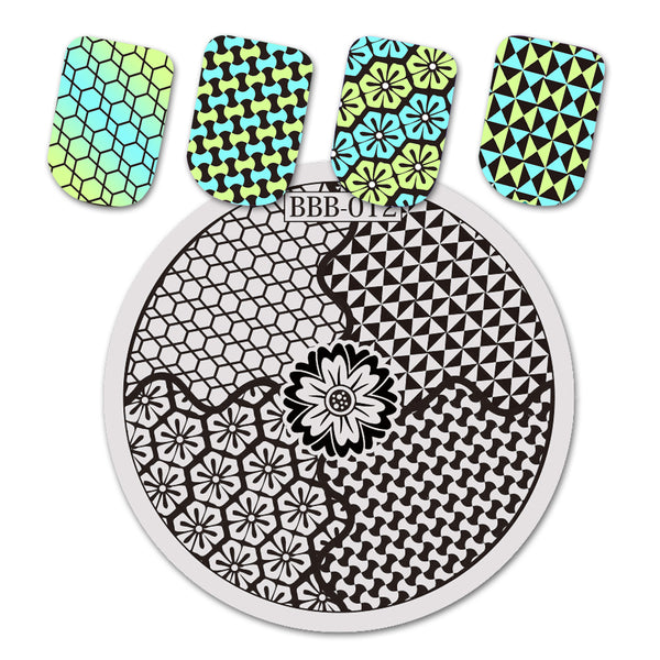 Flower Theme Geometric Design Circle Nail Art Stamping Plate BBB-012