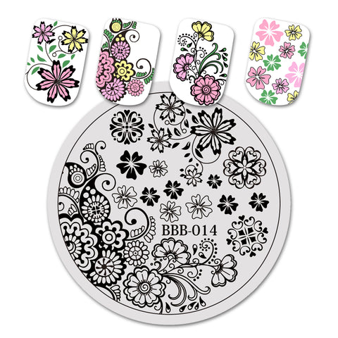 Floral Theme Circle Nail Art Stamping Plate For Manicure BBB-014