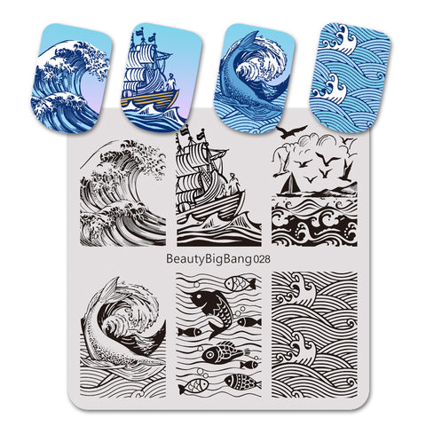Ocean Theme Dolphin Fish Design Square Nail Art Stamping Plate BBBS-028