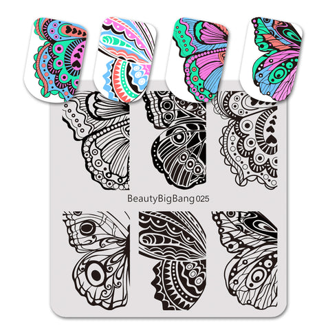 Butterfly Theme Wing Design Square Nail Art Stamping Plate BBBS-025