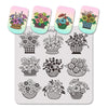 Flower Basket Vine Leaves Design Square Nail Art Stamping Plate BBBS-023