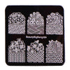 Plaid Flower Theme Square Nail Art Stamping Plate For Manicure BBBS-024