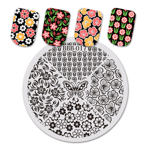 Flower Butterfly Pattern Circle Nail Art Stamping Plate BBB-017