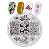Flower Butterfly Design Circle Nail Art Stamping Plate For Manicure BBB-020