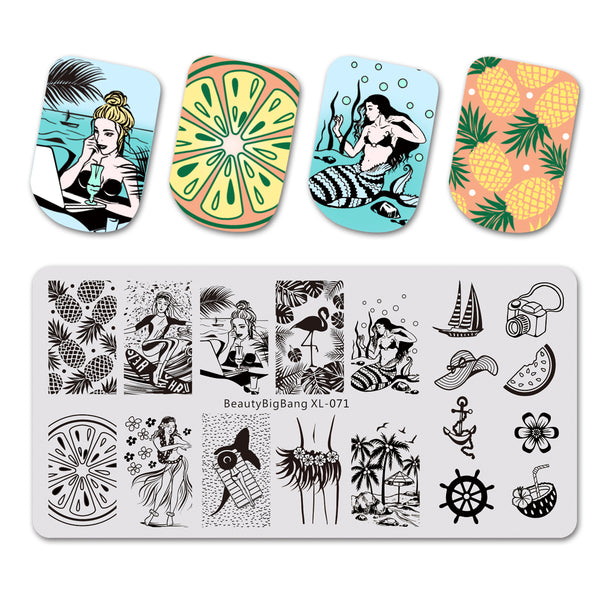 Fruit Beautiful Girl Design Rectangle Nail Art Stamping Plate For Summer BBBXL-071
