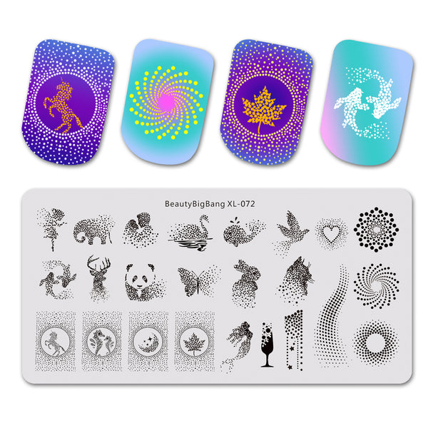 Geometry Animal Pattern Rectangle Nail Art Stamping Plate BBBXL-072