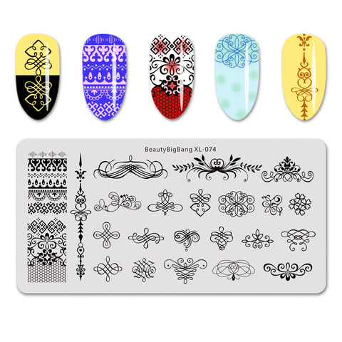 Geometric Theme Tree Branch Pattern Rectangle Nail Stamping Plate BBBXL-074