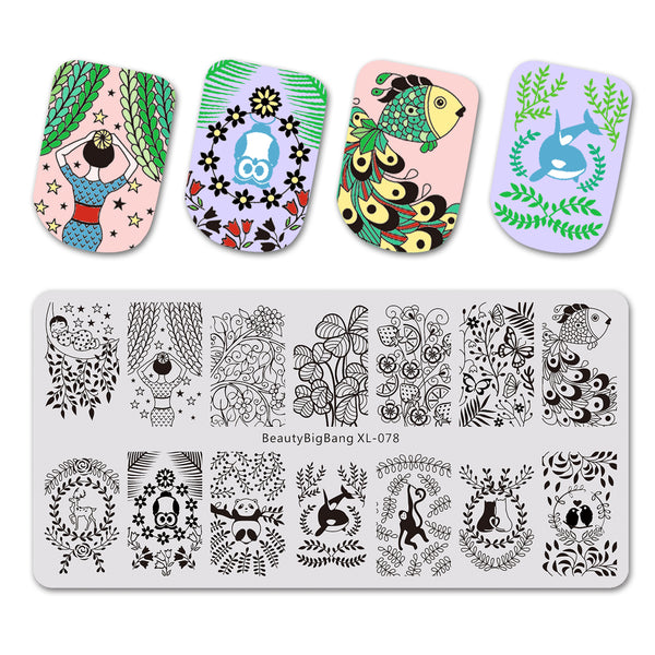 Leaves Theme Animals Pattern Rectangle Nail Art Stamping Plate BBBXL-078