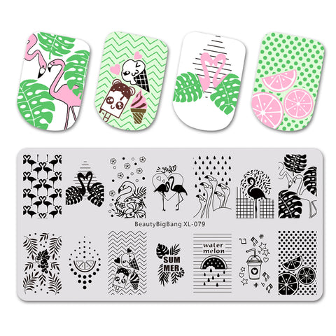 Summer Theme Flamingo Design Rectangle Nail Art Stamping Plate BBBXL-079