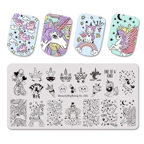 Unicorn Theme Rainbow Design Rectangle Nail Art Stamping Plate BBBXL-081