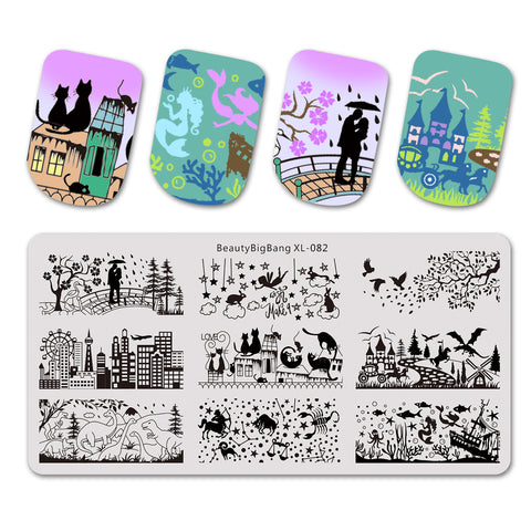 Animal Theme Building Design Rectangle Nail Art Stamping Plate BBBXL-082