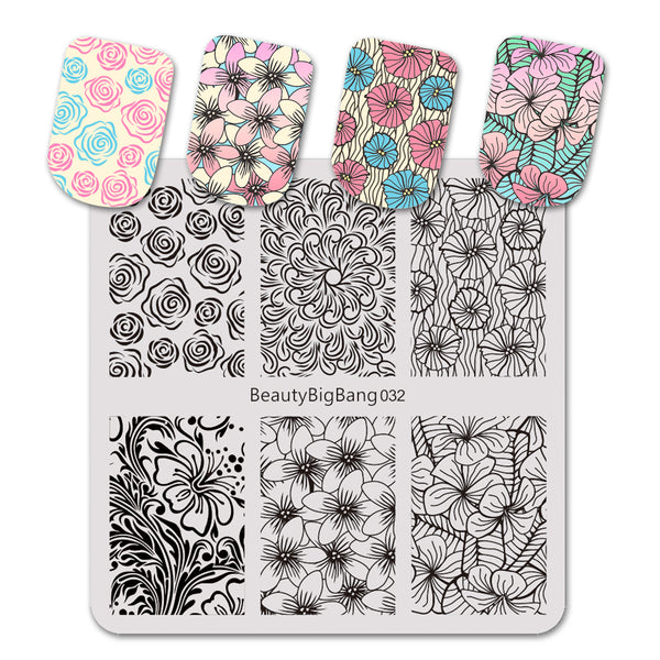 Flower Pattern Square Nail Art Stamping Plate For Manicure BBBS-032