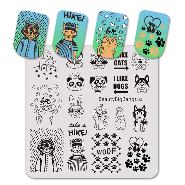 Animal Theme Design Square Nail Art Stamping Plate BBBS-030