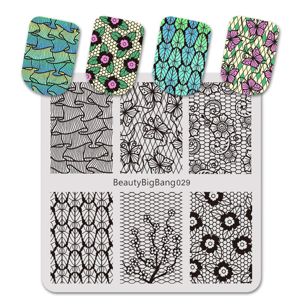 Lace Flower Pattern Square Nail Art Stamping Plate BBBS-029