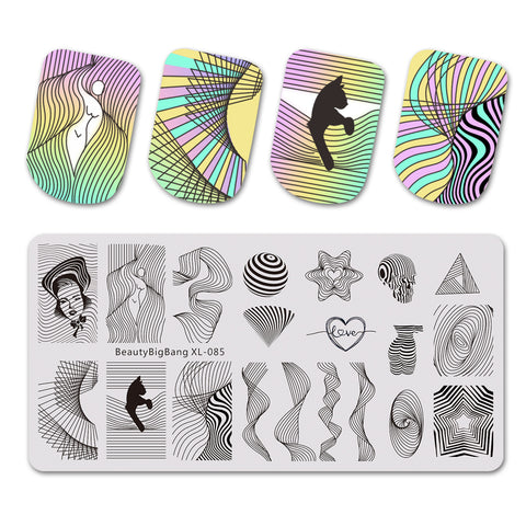 Geometric Line Wave Pattern Nail Stamping Plate BBBXL-085