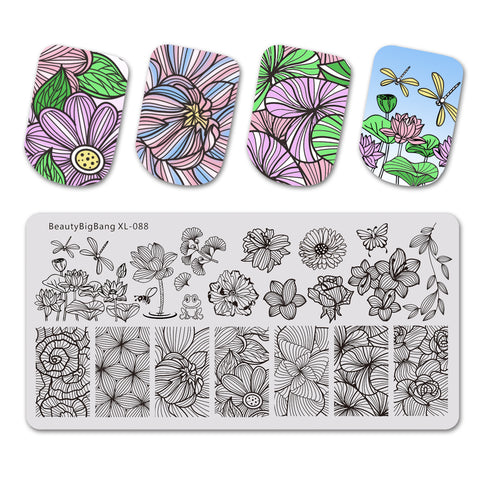 Lotus Line Flower Butterfly Manicure Nail Stamping Plate BBBXL-088